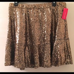 Sequin Gold Skirt Size XL Lined Party Skirt